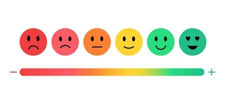 Feedback in de vorm van emoties, tevredenheidsbeoordeling. Vector Illustratie