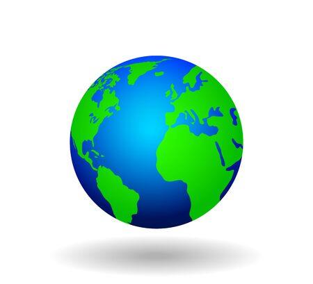 Carte du monde, terre, icône globe - illustration vectorielle