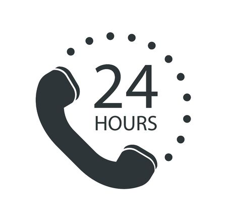 Call center 24 hours icon - Vector illustration.