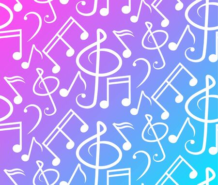 Pattern of music notes and melodies, Gradient background and white pattern - vector
