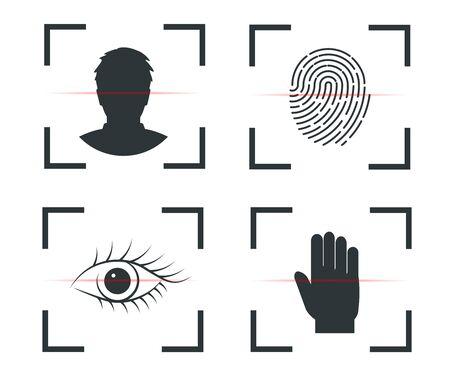 Autenticación de identidad, reconocimiento facial, huella dactilar retina mano