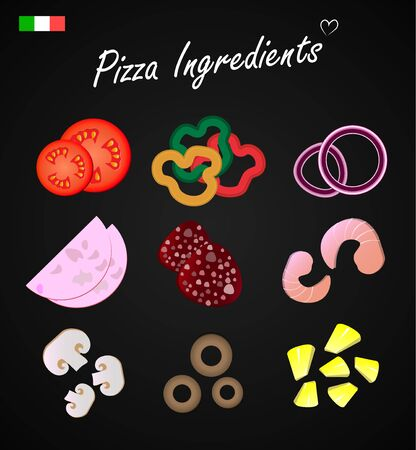 Ingredients for pizza, Italian pizza Menu