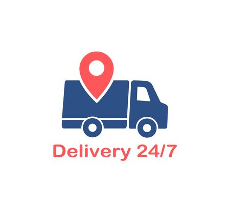 Delivery service logo with pointer, vector Illustration