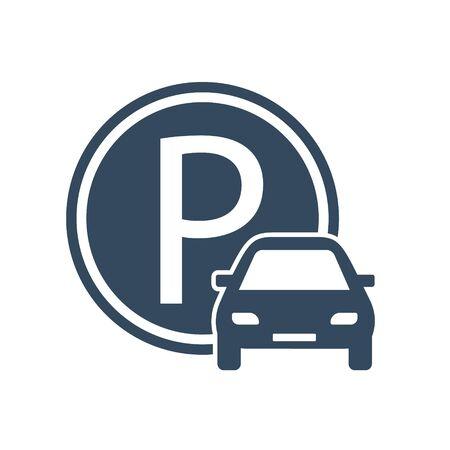 Zone de stationnement, Signer le stationnement pour les voitures - Illustration vectorielle.