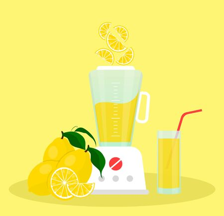 Lemon juice in a glass and lemons sliced next to a blender. Imagens - 134268250