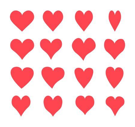Un conjunto de corazones, iconos vectoriales Ilustración de vector