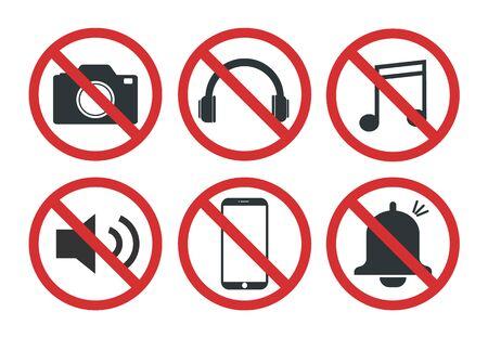 Insieme di segnali vietati, non scattare foto - illustrazione vettoriale