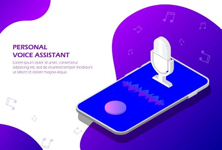 Personal Assistant and voice recognition on your smartphone isometric, Voice and sound lines.