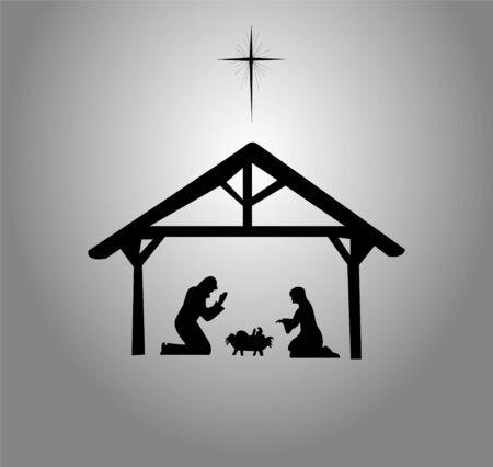 The Nativity of Jesus Christ, Bethlehem star. Illustration