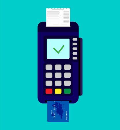 Payment terminal with credit card and check Vektoros illusztráció
