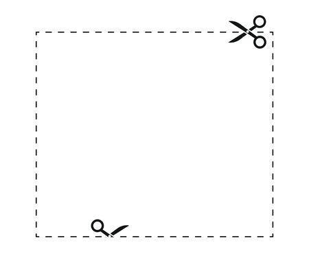 Znak granicy kuponu, linie cięcia nożyczkami