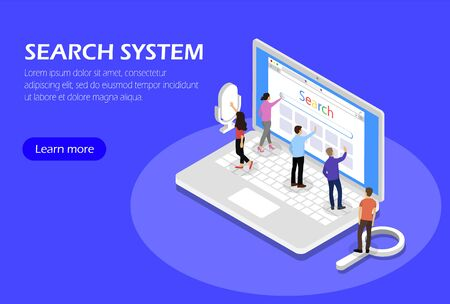 Search system, Concept with people and laptop. Isometric
