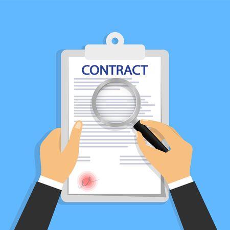 Contract Verification, Concept in hand magnifier Ilustração