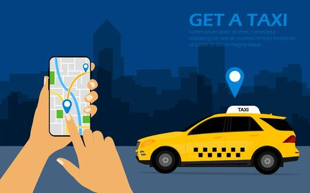Get a taxi, mobile phone with map in hand and city.