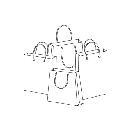 Shopping bags, Contour illustration - vector Illustration