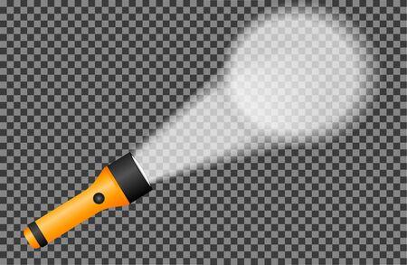 Realistic flashlight shining on the wall, Transparent vector illustration - vector