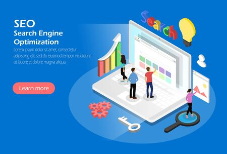 Search Engine Optimization, Concept with characters. Isometric Illustration
