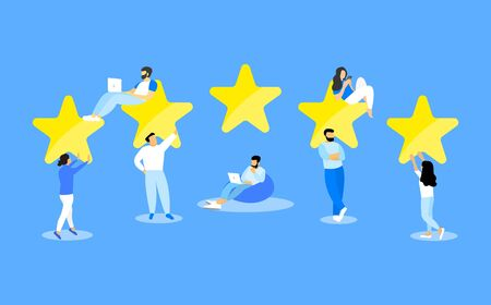 People give a five star rating, Feedback, Customer Reviews.