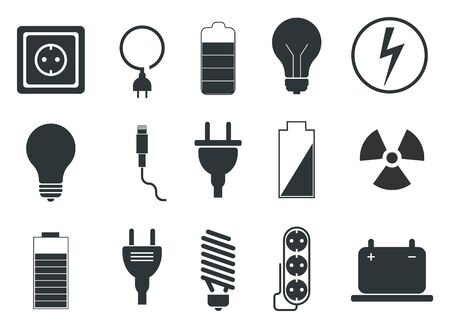 Set of electrical icons, Electrician - vector Vector Illustration