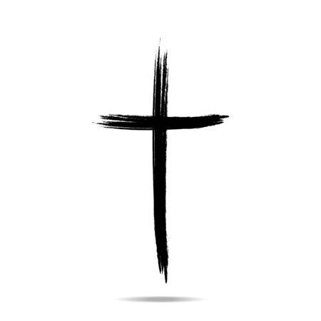 Segno della croce cristiana, icona della croce nera del grunge disegnata a mano - illustrazione vettoriale, eps10