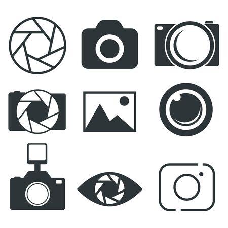 Icône de la photographie, icône de l'appareil photo, icône du diaphragme - illustration vectorielle. Vecteurs