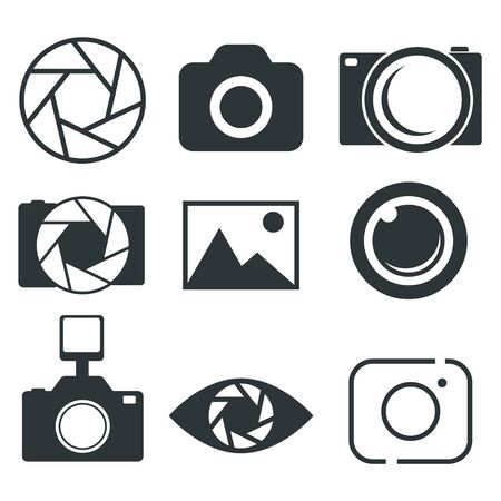 Photography icon, Photo camera icon, Diaphragm icon - Vector illustration. Vectores
