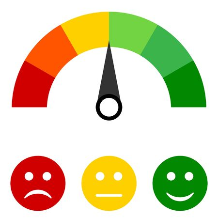 Colored scale of emotions. Scale with arrow from green to red and smileys - Vector illustration