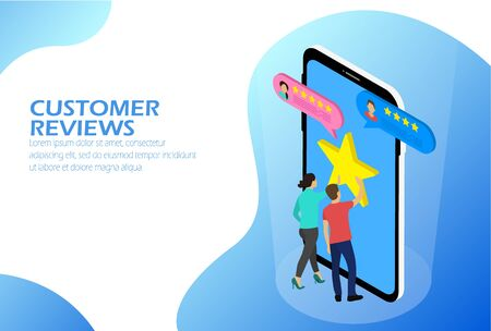 Customer Reviews isometric, Two people near the phone.