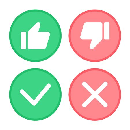 Daumen hoch und Daumen runter, grünes Häkchen und rotes Kreuz. Vektorgrafik
