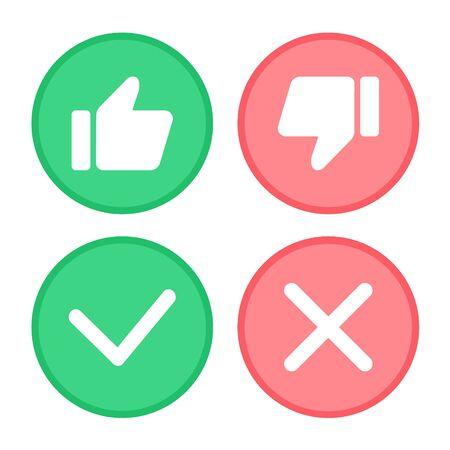 Duim omhoog en duim omlaag, groen vinkje en rood kruis. Vector Illustratie