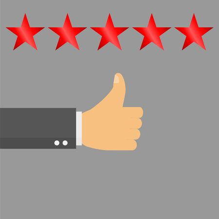 Thumb up pointing at positive five star feedback, Rating, evaluation, success, feedback, review, quality and management concept - vector