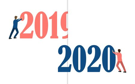 Characters change 2019 to 2020, color of the year 2020 Classic Blue. Ilustracja