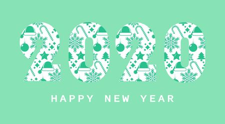 Happy New Year 2020, for calendar and background. Ilustracja