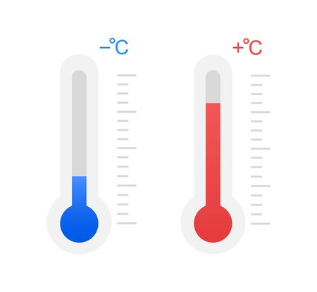 Frío y calor, temperatura bajo cero y por encima de cero.