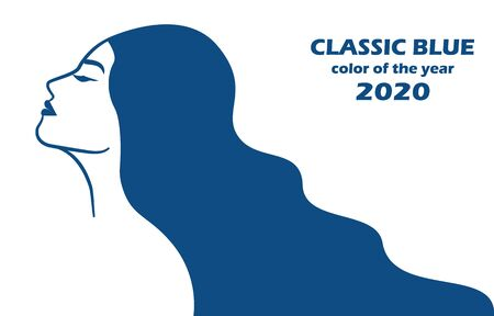 2020 color, classic blue, girl with long hair
