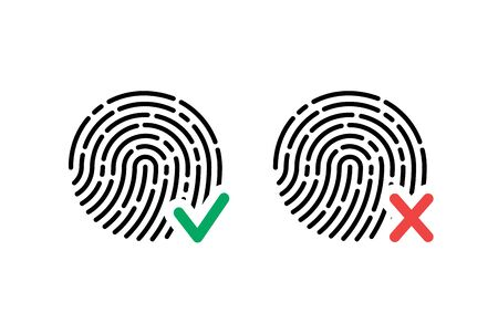 Fingerprint icon accepted and rejected.