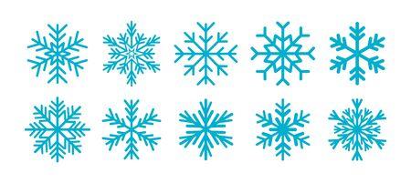 Snowflakes collection, blue ornamental snowflakes