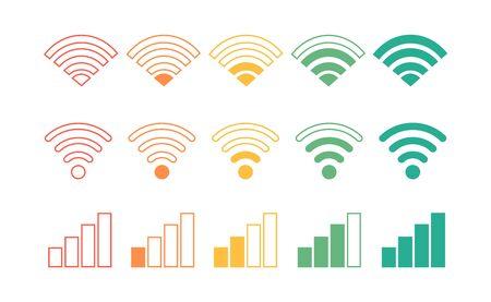 Wifi icon set, wiFi connection level.