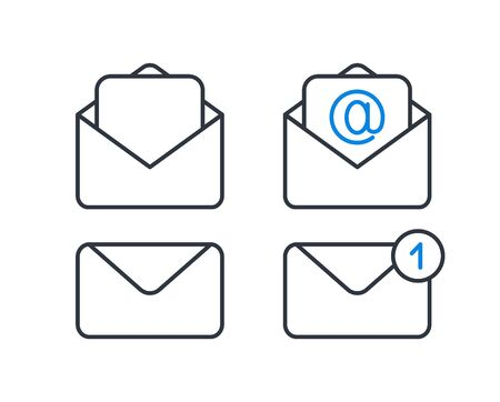 Envelope icons, mail and new message modern icons.