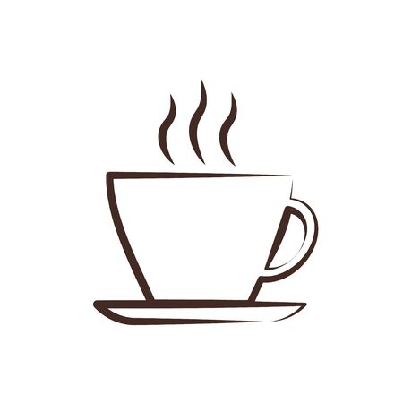 A cup of coffee thin line, vector .