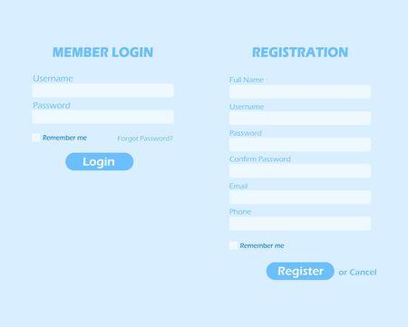 Login- und Registrierungsseite, Mitglieder-Login und Registrierungsformular. Vektorgrafik