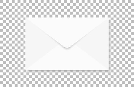 White realistic envelope on a transparent background. Ilustracja