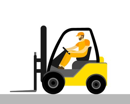 Forklift with a worker, vector illustration in flat style.