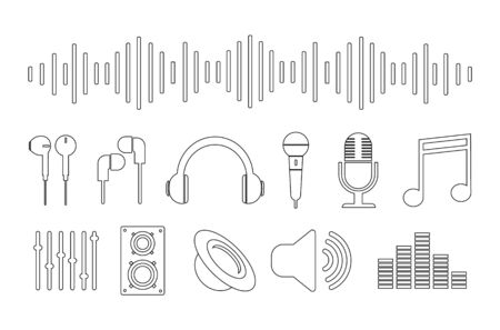 Set of music icons, contour icons