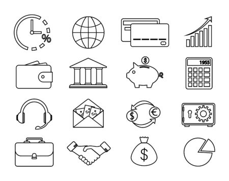 Set of financial and banking icons, contour icons.