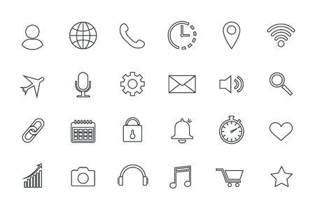Set of web icons, contour icons