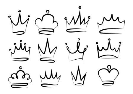 Set of crowns, sketches of the crown. Ilustracja