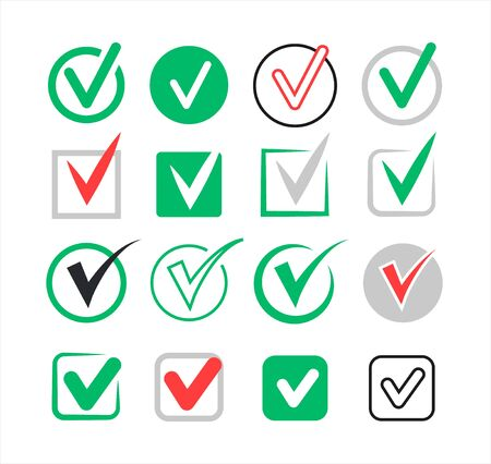 Collection of checkmarks, set of badges