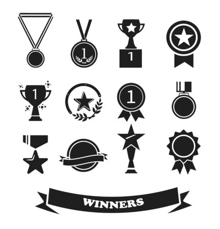 Set of award and prize icons, winner Icon vector. Ilustracja