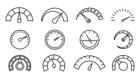 Set of speedometer icons, thin line Ilustracja